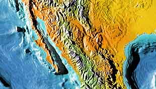 Baja California and Mexico with land and ocean floor relief